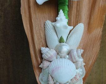 Seashell Wall Decor, Wedding Decoration, Orchid Decoration, Wall Art, Beach Decor Wall Art, Orchid Flower, Seashells