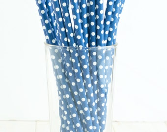 25 Navy Paper Straws with White Polka Dots- Perfect for a navy blue graduation party, navy bridal shower, navy wedding, or navy birthday