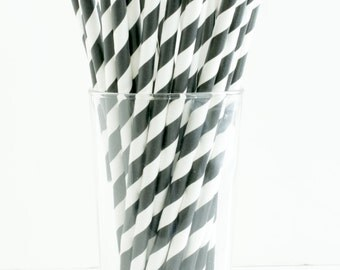 Black and White Paper Straws- Set of 25 Diagonal Black and White Stripe Paper Straws- Great for weddings, birthday parties, and showers!