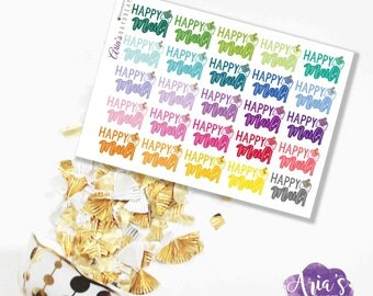 Happy Mail! - Fun Colorful Words, Envelopes, Glitter Hearts - 25 stickers, 1 sheet - Perfect for use in any planners such as ECLP