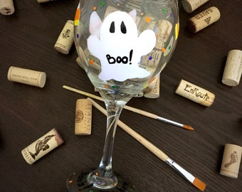 Here for the Boos- Halloween Wine Glass