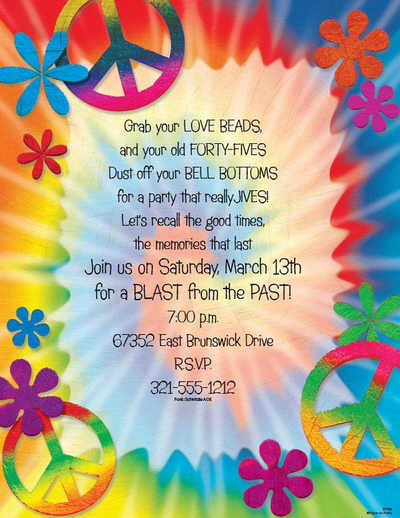 Tie Dye Peace Signs Invitation 60s Party 70s Party Invite