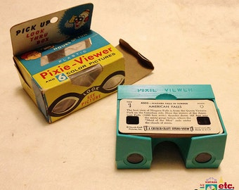 Stereoscopic Pixie-Viewer, Original Box Viewer, Six Color Slides, Stori-View, HTF Complete Gift Package, Mid-Century, Niagara Falls, c. 1962