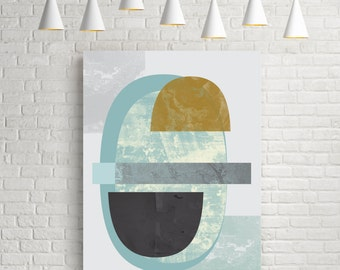 Mid century print, pastel colours print, living room art, mid century art, textured, mid century poster, watercolor abstract, home decor