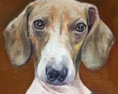 "Tiny 4X4"" Custom Dog Cat Animal Portrait Art, Oil Painting On Canvas"