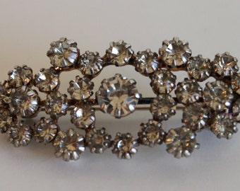 Vintage Silver Tone Rhinestone Clear Cluster Brooch Pin