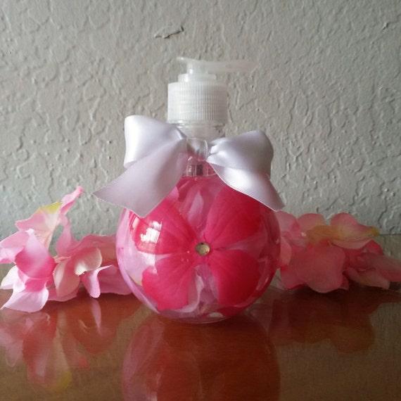 Refillable glass soap dispenser bathroom art by bottledbouquet for Pink glass bathroom accessories