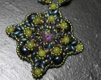 Star of Venus Necklace Blue Green Swarovski Crystal Necklace