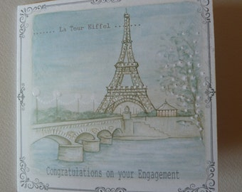 Romantic, Parisian, Eiffel Tower, Engagement Card which can be personalised.