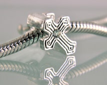 CROSS Charm fits Pandora and other Charm Bracelets, Chamilia, Biagi, Trollbeads, jewelry findings for necklaces, charms and bracelets