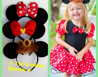 LIMITED October Deal Buy 3 PAc Minnie Mouse ears Headband receive FREE Dress