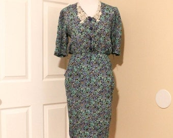 80s Blue Floral and Lace Dress