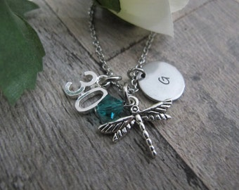 30th Birthday Gift for women, Personalized hand stamped initial Dragonfly charm Necklace, Gift For Wife, Best Friend Gift ,Gift For Sister