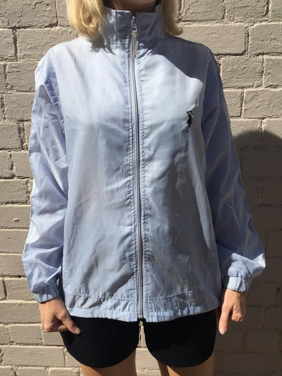 Light Blue Windbreaker Jacket by StoreBabs on Etsy