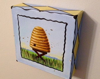 Small Bee Skep Original Painting 5 in x 5 in acrylic on canvas