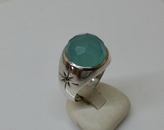 Chrysoprase and Crystal green ring 925 Silver SR656