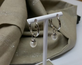 Kitchen 925 hoop earrings pearls SO140