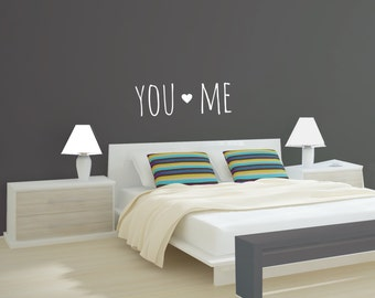 You & Me Vinyl Wall Decal Vinyl Letters Vinyl Sticker Vinyl Wall Art Marriage Wall Art Wall Art Bedroom Wall Sign You and Me