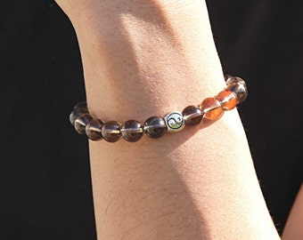 Bracelet Men Smoky Quartz Bracelet Yoga Bracelet Gift for Men Yin Yang Bracelet Balance Bracelet Bead Bracelet Men Healing Crystal and Stone