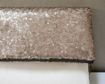 Sequin and Faux Leather Foldover Zippered Clutch - Pouch, Handbag, Blush, White, Off-White, Mother's Day Gift