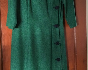 Vintage, Wool Green Tweed 3/4 sleeve Dress Navy Faux Button Side -  1950's
