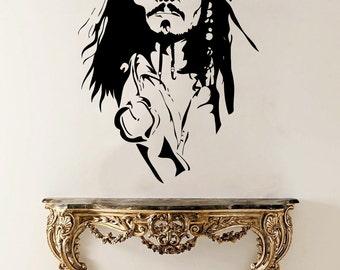 Jack Sparrow Vinyl Sticker Jack Sparrow Wall Decal Pirates Vinyl Decals Wall Vinyl Decor /14rtg/