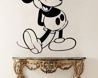 Mickey Mouse Vinyl Sticker Mickey Mouse Wall Decal Cartoon Vinyl Decals Wall Vinyl Decor /8adg/