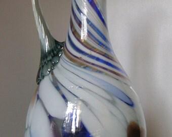 Vintage Glass carafe, Retro glass decanter, Vase, Soviet Art Glass Vase, Pitcher, varicolored glass carafe