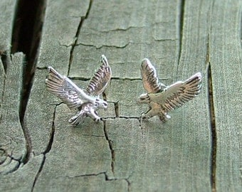 Smaller Sterling Silver Post Swooping Eagle Earrings