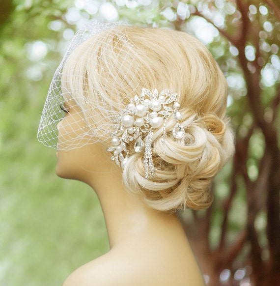Birdcage Veil Wedding Comb Wedding Fascinator By BeHappyWedding