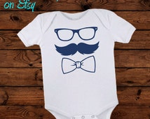 Little boy bow tie body suit, cute little boy shirt, fancy baby shirt, glasses baby shirt,