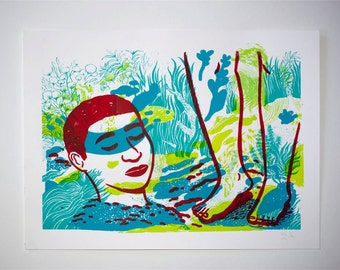 Screenprint poster underwater / screenprint poster surreal underwater world