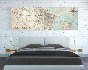 SAVANNAH GA Canvas Print Georgia Savannah ga Vintage map City Horizontal Large Narrow Wall Art Vintage map Gift poster panoramic ga map