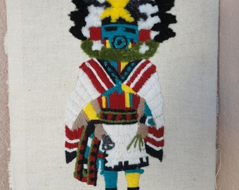 Vintage Knitted Native American Indian Kachina Hopi Art Wall Hanging Stretched Cloth On Frame
