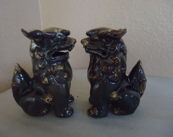 Vintage Asian Chinese Japanese Foo Dogs Lions Guardian Statues Figurines