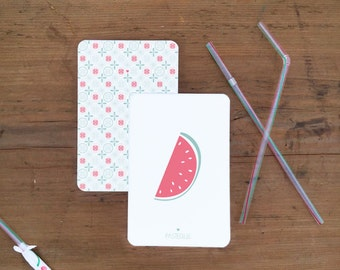 Lot of 2 postcards watermelon/weft - envelopes
