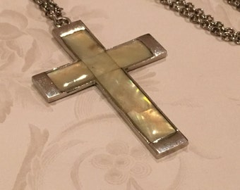 Vintage Abalone Cross Pendant Necklace, Silver Cross Necklace, MOP Cross Necklace