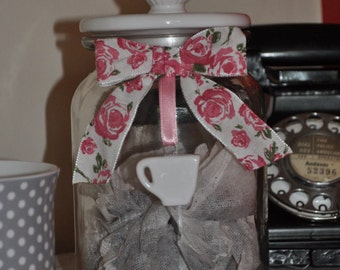 Novelty glass jar with lid – customised with ribbons and bow – English rose and pink