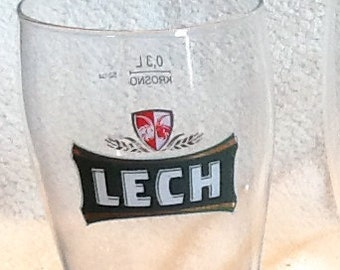 SET of 3 vintage (c.1980s) beer glasses w/etched logos:  LECH, Carlsberg and O'Keefe's. MINT!
