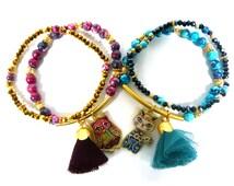 Stylish Ceramic Ball Beaded Tassel Charm Bracelets Set Stretch Adjustable Fashion Jewelry Lovely Cute Owl Cat Pendant Women Lady Girl Gift