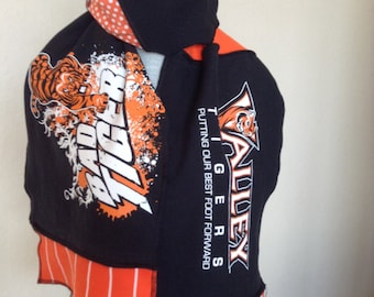 Valley Tigers Scarf, Valley Scarf, Tigers tshirt scarf, Upcycled Tshirt Scarf, Val4