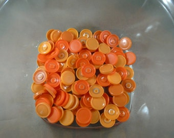 100 SMALL Vial caps medicine flip off for badge reel crafts ORANGE Tangerine citrus pumpkin fall harvest