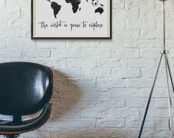 Black world map art map of the world black world map world printable art world map print 8x10 the world is yours to explore black world sciox Image collections