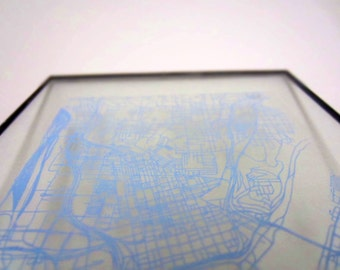 Cincinnati Street Grid Map - Sky Blue on Clear Acrylic