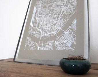 Cincinnati Street Grid Map - White on Sable Brown