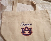 Tote Bag, Utility Tote, Canvas, Auburn Canvas Tote Bag, Monogrammed