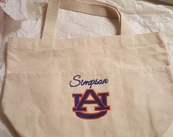Tote Bag, Utility Tote, Canvas, Auburn Canvas Tote Bag, Monogrammed