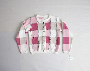 pink plaid cardigan / 90s sweater