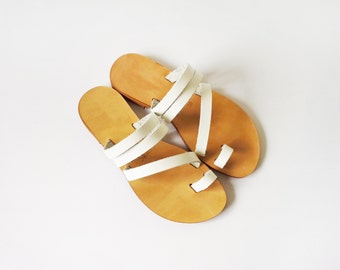 Handmade greek style leather sandals/slides in White colour