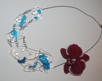 Ice hand made blue necklace (15)